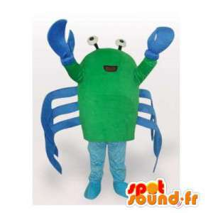 Mascotte de crabe vert et bleu. Costume de crabe