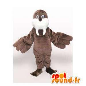 Mascotte de morse marron. Costume d'otarie