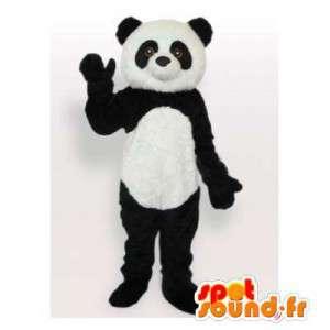 Mascot panda blanco y negro.Panda traje