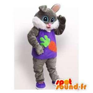 Grå og hvit kanin maskot. Rabbit Costume - MASFR006115 - Mascot kaniner