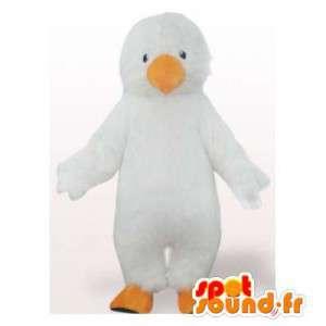 Mascote bebê pingüim, todo branco. terno de pinguim branco