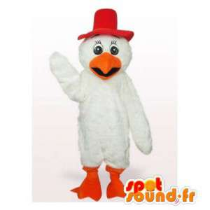Hvit fugl maskot med en rød lue - MASFR006129 - Mascot fugler
