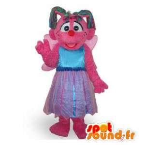 Roze mascotte fee met vleugels en een prinses jurk