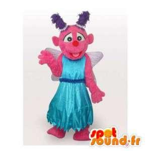 Mascot rosa hada con alas y un vestido de princesa