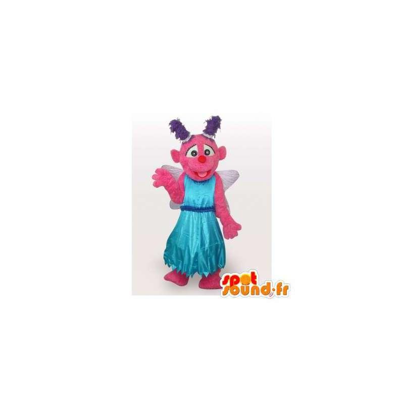 Mascotte de fée rose avec des ailes et une robe de princesse - MASFR006131 - Mascottes Fée