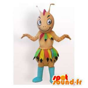 Mascotte de fourmi apache de couleur marron. Costume de fourmis