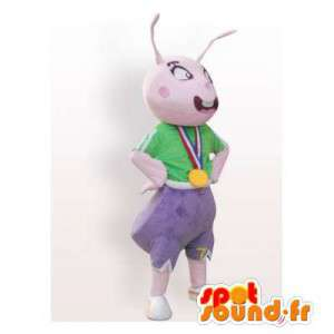 Pink ant mascot dressed in green and purple
