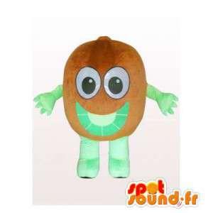Mascotte de kiwi marron et vert géant. Costume de kiwi