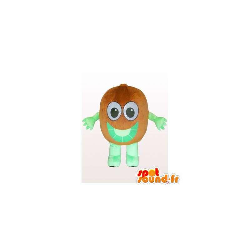 Mascot kiwi brown and green giant. Kiwi costume - MASFR006137 - Fruit mascot