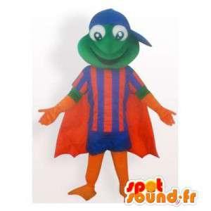 Mascotte de grenouille bleu et orange, avec une cape