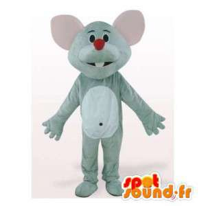 Grijze en witte muis mascotte