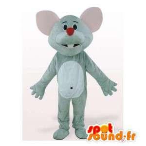 Mascotte de souris gris et blanche