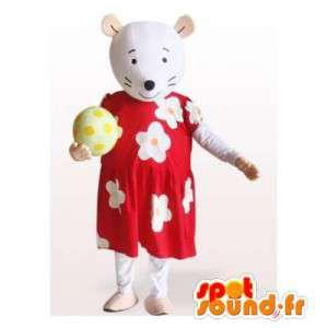 Hiiri maskotti punainen mekko kukilla. Rat Suit - MASFR006143 - hiiri Mascot