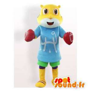 Keltainen kissa maskotti kanssa nyrkkeilyhanskat. kissa perässä - MASFR006145 - kissa Maskotteja