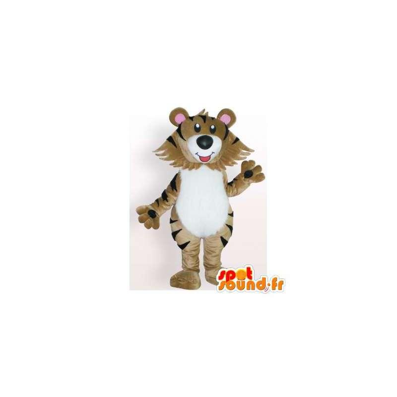 Bebé tigre mascota de color beige.Tiger traje - MASFR006146 - Mascotas de tigre