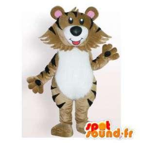 Uomo tigre mascotte beige. Tiger costume - MASFR006146 - Mascotte tigre