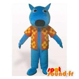 Blauwe hond mascotte met een bloemrijke overhemd - MASFR006152 - Dog Mascottes