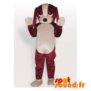 Mascotte de chien marron et blanc. Costume de chiot - MASFR006153 - Mascottes de chien