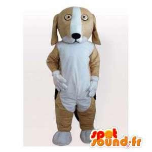 Dog mascot plush beige and white. Dog costume - MASFR006154 - Dog mascots