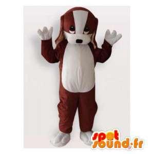 Ruskea ja valkoinen koira maskotti. pentu Costume - MASFR006156 - koira Maskotteja