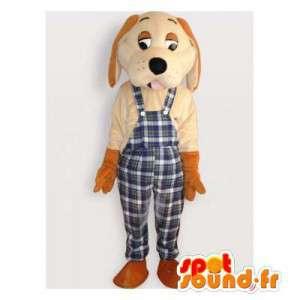 Beige koira maskotti ruudullinen haalarit - MASFR006157 - koira Maskotteja