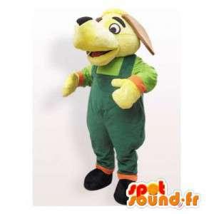 Maskottchen-Hund grün gelb Overall - MASFR006160 - Hund-Maskottchen
