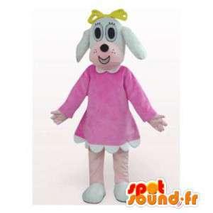 Hundmaskot i rosa klänning. Tikdräkt - Spotsound maskot