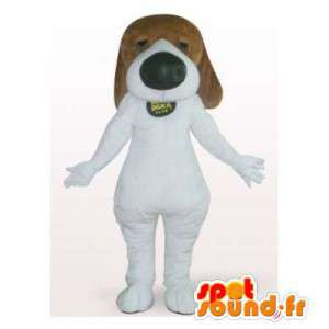 Bruine en witte hond mascotte. Costume basset - MASFR006163 - Dog Mascottes