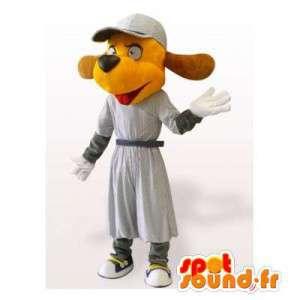 Dog mascot orange dress with a hat - MASFR006164 - Dog mascots
