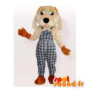 Hundmaskot i rutiga overaller - Spotsound maskot