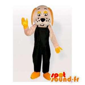 Musta jumpsuit koira maskotti - MASFR006167 - koira Maskotteja