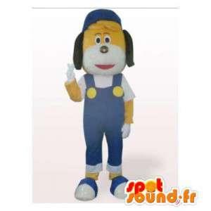 Gelber Hund Maskottchen in blauen Overalls - MASFR006168 - Hund-Maskottchen