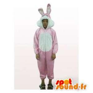 Różowy i biały królik maskotka. Kostium królik