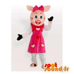 Mascotte de cochon rose avec une robe à cœurs - MASFR006172 - Mascottes Cochon