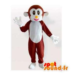 Mascotte de singe marron et blanc