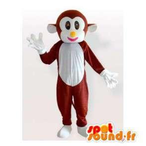 Mascotte de singe marron et blanc - MASFR006173 - Mascottes Singe