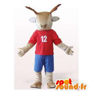Vestida mascote renas em vermelho e azul. terno rena