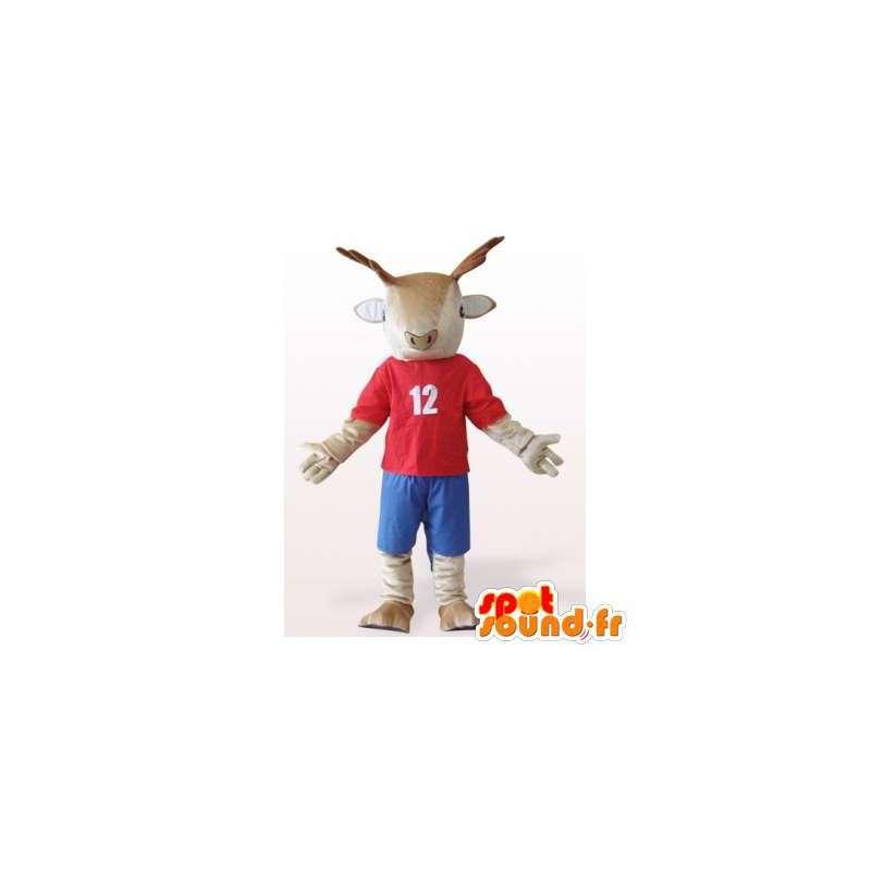 Pukeutunut poro maskotti punainen ja sininen. poro Suit - MASFR006176 - Stag ja Doe Mascots