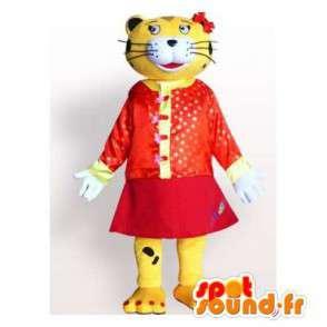 Žlutá a černá tygr maskot oblečený v červených šatech - MASFR006177 - Tiger Maskoti