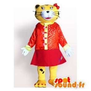 Tiger Mascot yellow and black dressed in a red - MASFR006177 - Tiger mascots
