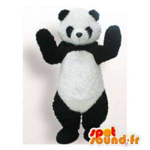 Black and white panda maskotka. panda kostium