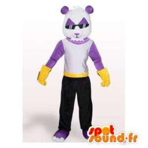 Mascot panda púrpura y blanco.Panda traje