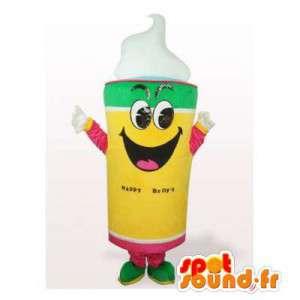 Mascotte de glace jaune, verte, rose et blanche