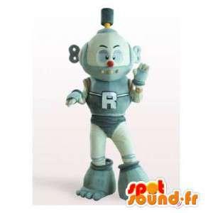 グレーと白のロボットマスコット。玩具スーツ