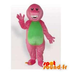Dinosaur mascotte rosa e verde. Dinosaur Costume