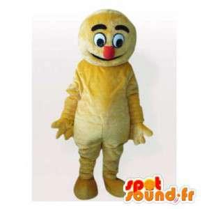 Keltainen lumiukko maskotti punainen nenä - MASFR006192 - Mascottes Homme