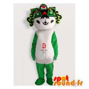 Verde mascote e panda branco, asiático