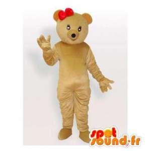 Beige beer mascotte met een rode strik - MASFR006201 - Bear Mascot
