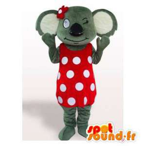 Koala mascot in a red dress with white dots