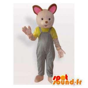 Maskot beige kaninoveraller. Bunny kostym - Spotsound maskot